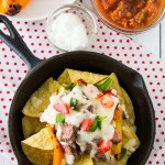 Grilled steak, sweet peppers and spicy jalapeno are piled on crunchy tortilla chips and then drenched in a cheesy ale based Mornay sauce.