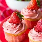 Vinalla Cupcakes with Strawberry Frosting
