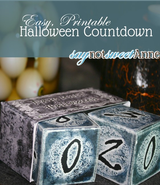 Free 3D Print and Fold Halloween Countdown! #halloween #decor from Saynotsweetanne.com