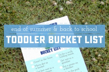 Printable Back To School Printable Toddler Bucket List - the perfect way to say goodbye to summer!