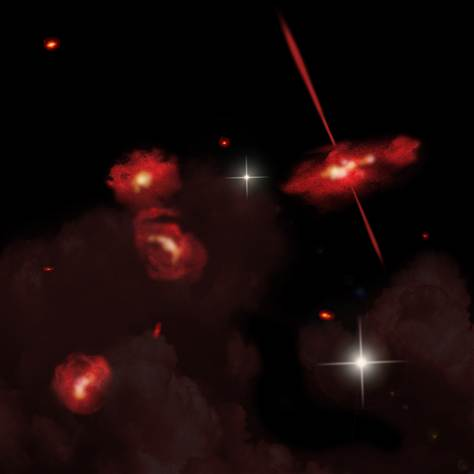 Artist's rendition of red galaxies