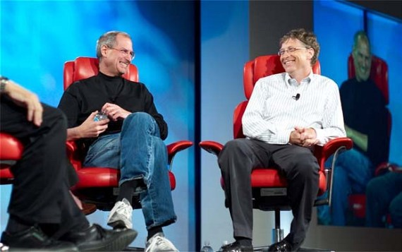 Steve Jobs and Bill Gates together at a technology conference in 2007