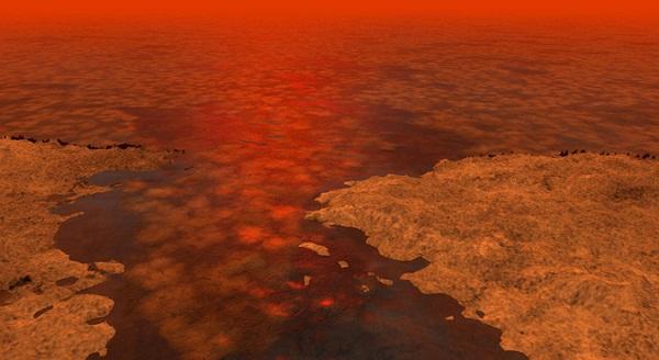 Artist's depiction of ice on hydrocarbon sea on Titan (Credit: credit: NASA/JPL-Caltech/USGS)