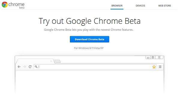 Google Chrome beta download screenshot