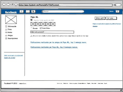 Mockup of Facebook homepage after including the screen reader software for improved usability (Credit: Canal UGR)