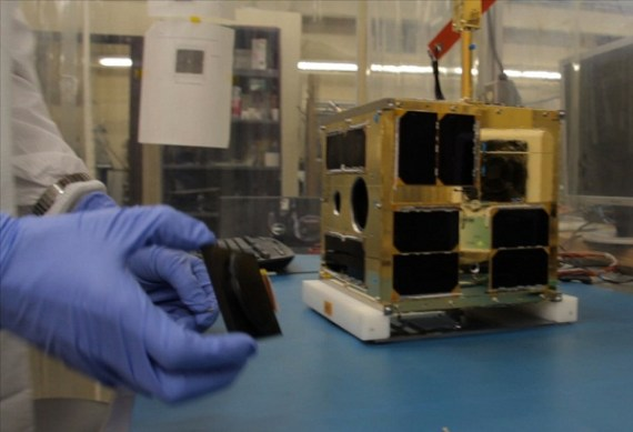 First BRITE satellite at UTIAS-SFL (Credit: University of Toronto Institute for Aerospace Studies)