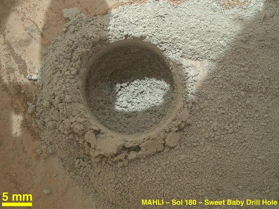 Hole with a mini-drill test (Credit: NASA/JPL-Caltech/MSSS)
