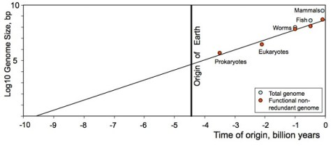 Semilog plot for the origin of life (Credit: arXiv:1304.3381 [physics.gen-ph])