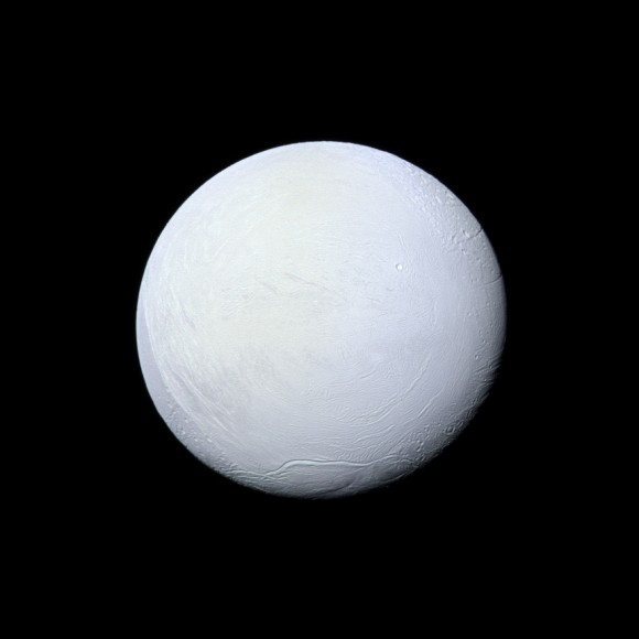 """Enceladus: a highly-reflective and icy """"snowball in space"""" (Credit: NASA/JPL-Caltech/Space Science Institute)"""
