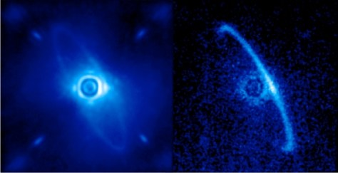 GPI's image of dust disk orbiting HR4796A. Left image shows shows normal light and right image shows only polarized light. (Credit: Processing by Marshall Perrin, Space Telescope Science Institute)
