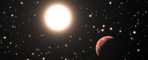 Artist's rendition of space planet in star cluster Messier 67 (Credit: ESO/L. Calçada)