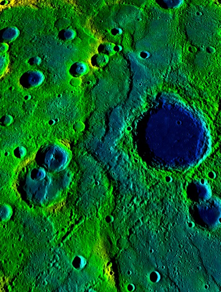 This image shows a long collection of ridges and scarps on the planet Mercury called a fold-and-thrust belt. The belt stretches over 336 miles (540 km). The colors correspond to elevation—yellow-green is high and blue is low. (Credit: NASA/Johns Hopkins University Applied Physics Laboratory/Carnegie Institution of Washington.)
