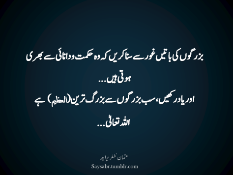 Buzurgon ki baatein ghor say suna karein keh woh hikmat-o-daanaai say bhari hoti hain… Aur yaad rakhain, sab buzurgon say buzurg-tareen (العظيم)  hai ALLAH Ta'ala…  (Usman Zafar Paracha – Urdu quotations)