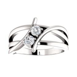 Examplary Ct Ladies Round Cut Diamond Two Stone Ring Two Stone Ring Kay Two Stone Ring Designs