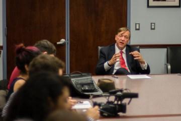 Stony Brook President Sam Stanley answers student medias questions. C/O Joseph Ryder