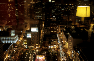 The nighttime view of Union Square from the ArchAngel party at the Westin St. Francis Hotel in San Francisco, California. (Photo: Misti Layne / mistilayne.com)