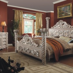 F 8008b Sleeping Room Wardrobe Furniture Wooden Double Bed With