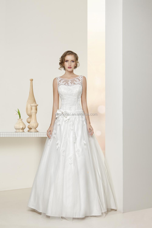 wedding dresses with sheer top sheer top wedding dress Sd Sheer Top Round Neck Lace Wedding Dress