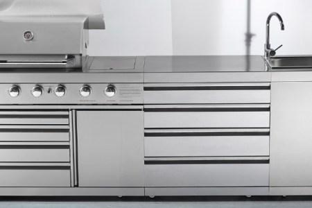 outdoor bbq kitchen with fridge sink bbq