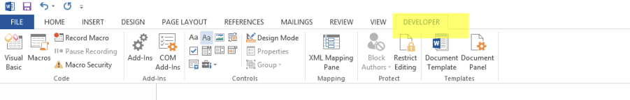 Developer Tab in MS Word