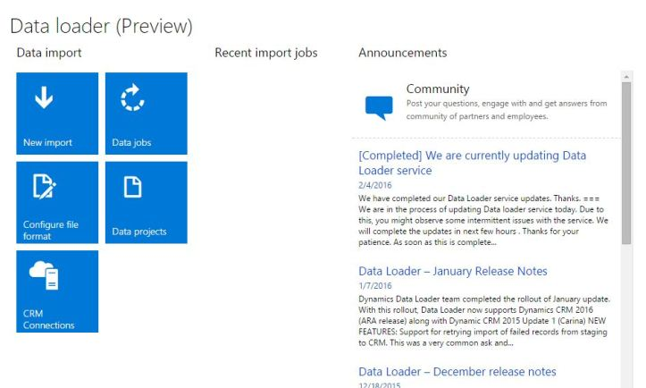 Data Loader Service for Dynamics CRM data migration