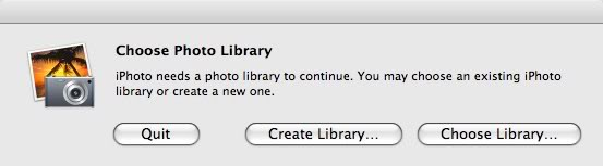 "iPhoto ""Choose Photo Library"" window that asks you to ""quit"", ""Create Library"" or ""Choose Library"""