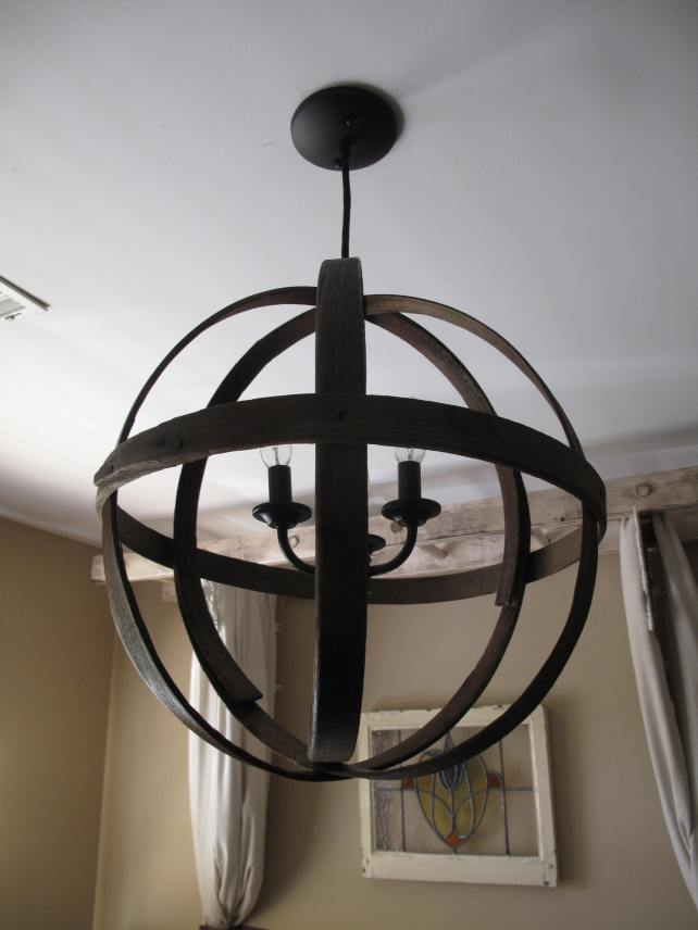 DIY Orb Light with vintage basket Hoops, chandelier, upcycled, recycled
