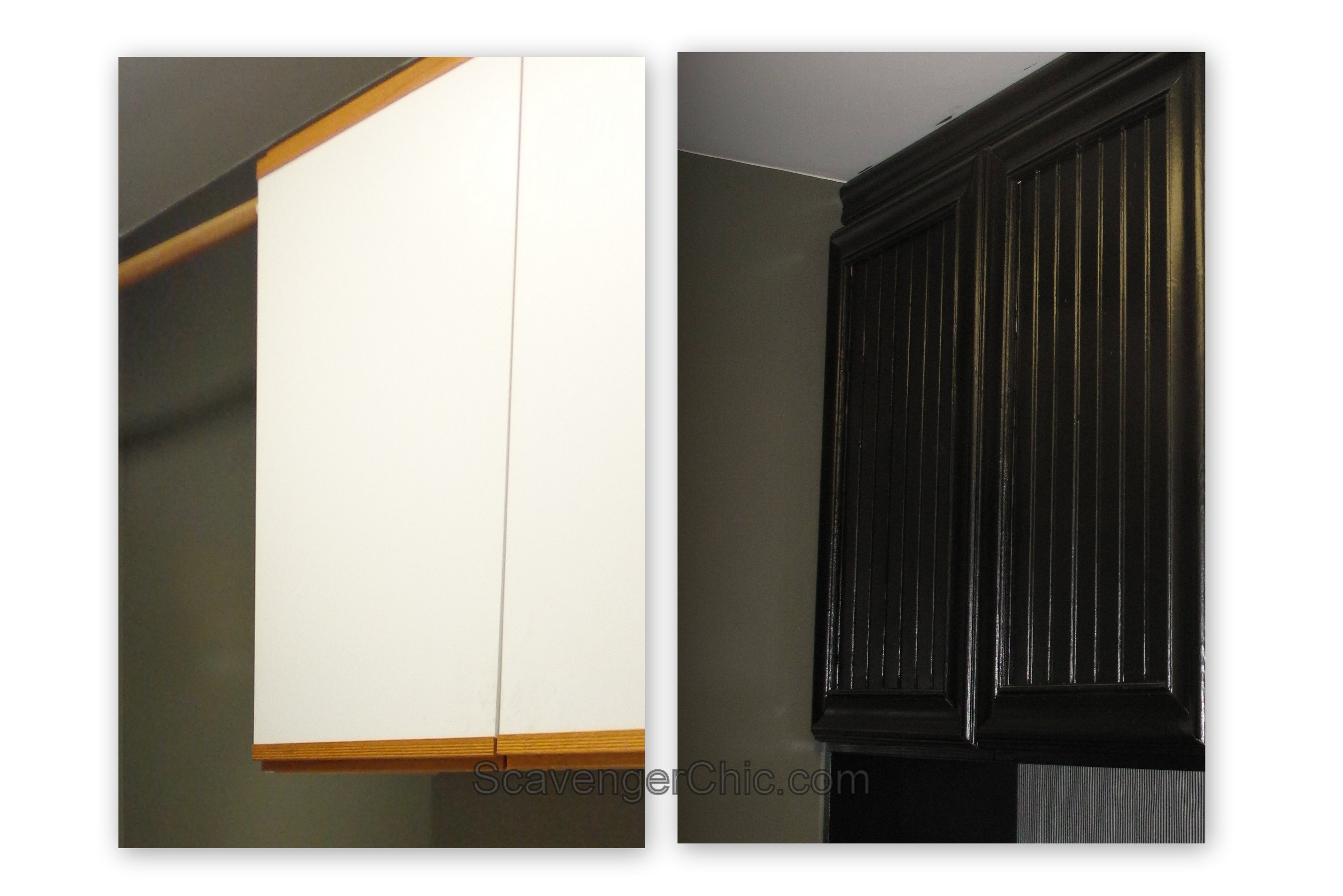 Refacing laminate and oak cabinets diy scavenger chic for Laminate cabinets