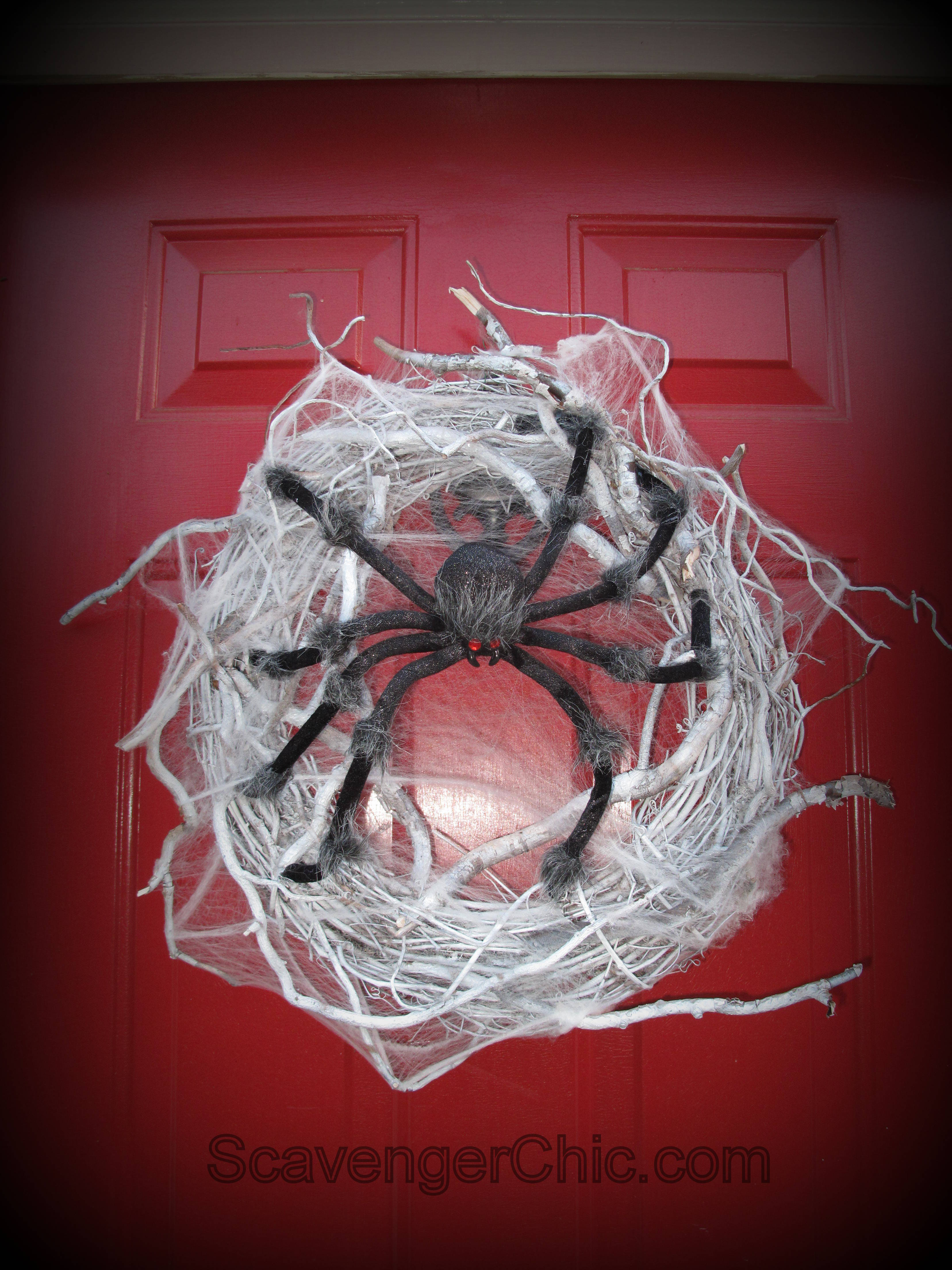 Spider Halloween Wreath Diy Add Your Ugly Spider Gluing His