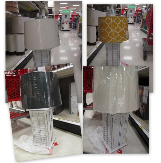 Pick a lampshade, Upcycled shutter lamp diy