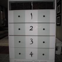 Painted dresser makeover, chest of drawers makeover, painted chest of drawers, white and green dresser, dresser with numbers