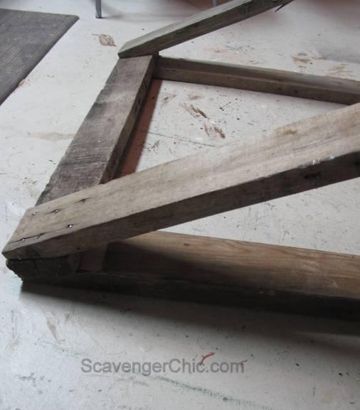 Pallet wood sawhorse,sawhorse diy, build your own sawhorse,reclaimed wood sawhorse, pallet wood projects, vintage inspired sawhorse