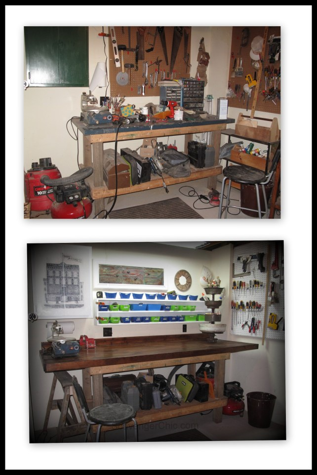 workshop makeover, adding storage to workshop, workbench