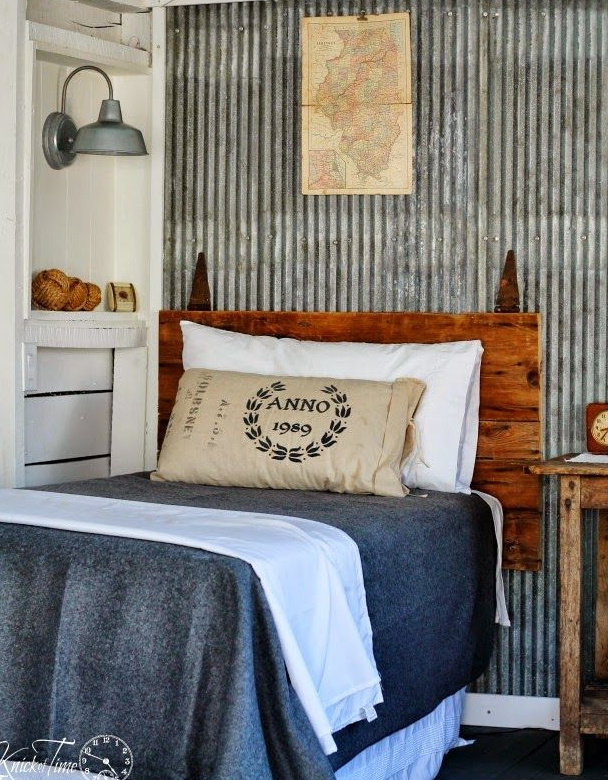 20+ Amazing Recycled Wall Ideas-Corrugated Tin Wall in a bedroom