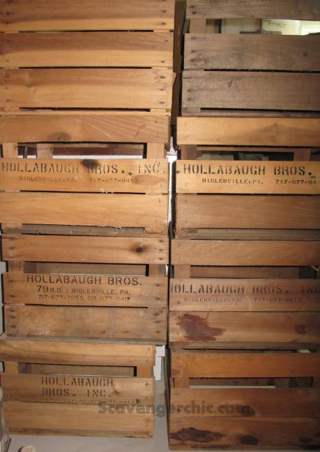 Stacks of old Fruit Crates