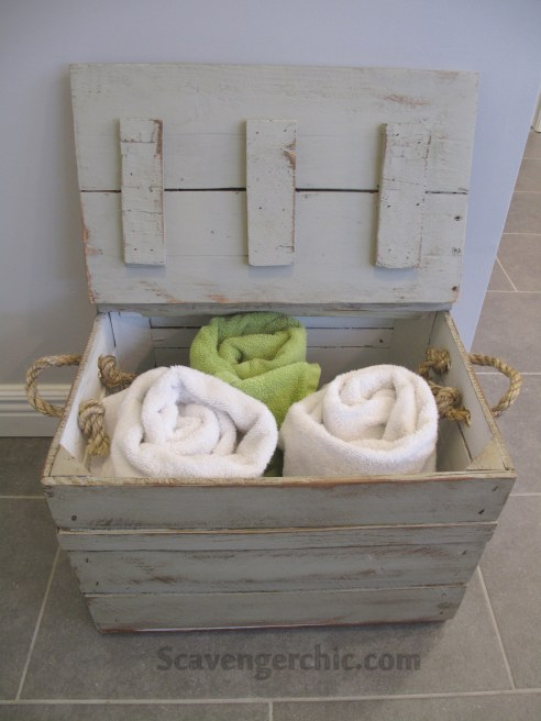 Painted Crate diy, Wooden Storage Crate, Repurposed Fruit Crate