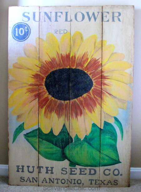 Sunflower Seed Packet Wooden Sign diy