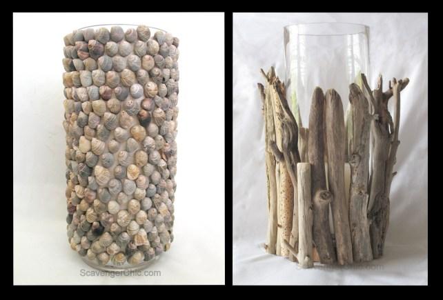 Hurricane Lamp ideas, driftwood and shells
