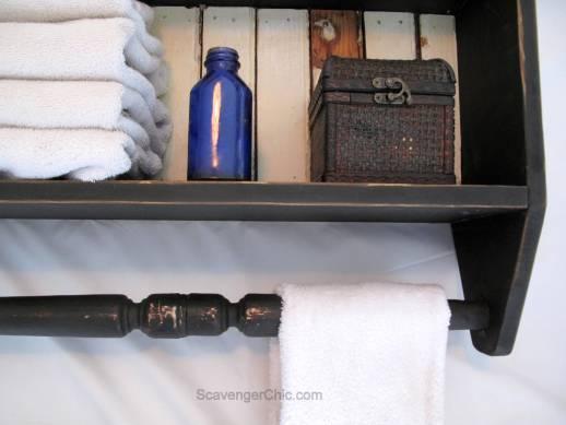 Spindle and Vintage beadboard bathroom Shelf-001