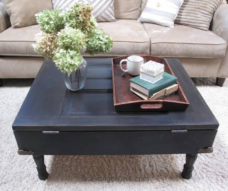 Vintage Door Coffee Table with Pallet wood interior
