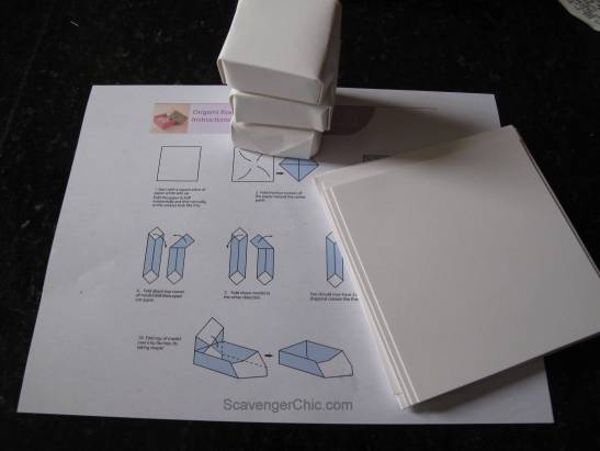 Making Origami boxes for Advent Calendar