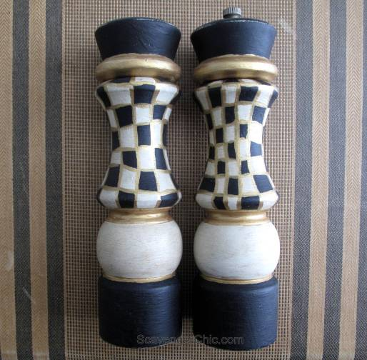 Painted Black and White Salt and Pepper shakers diy