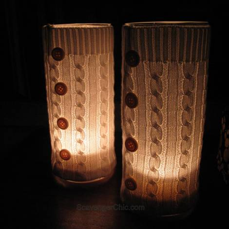 Recycled Sweater Hurricane Lamp