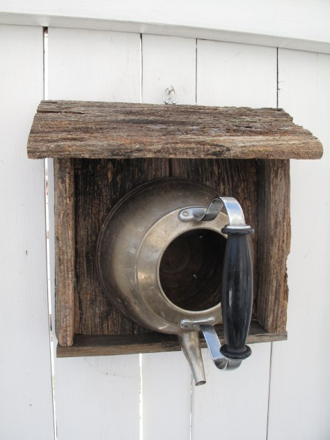 Teakettle birdhouse with reclaimed wood