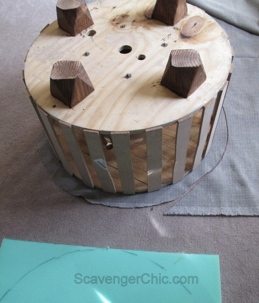 Upcycled Wire Spool Ottoman-008