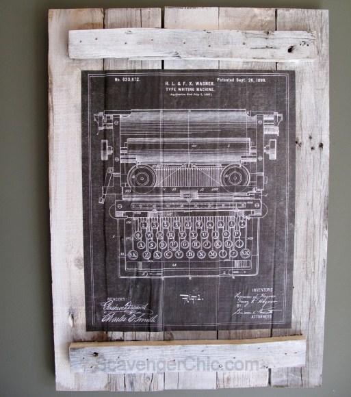Vintage Patent Blueprints Calendar Pallet Wall Art-008