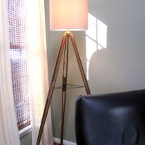 Vintage tripod floor lamp diy, surveyors tripod