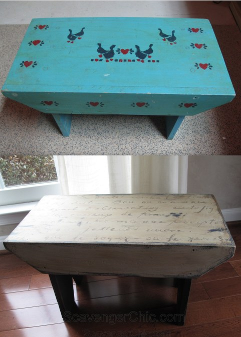 Country Stool Makeover with French letter transfer