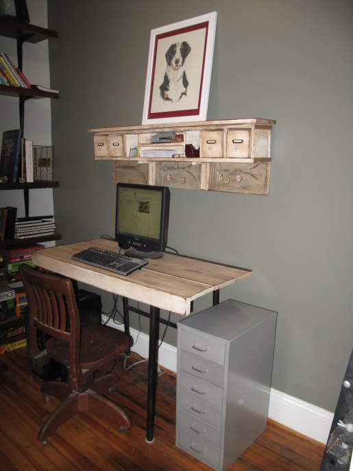 Storage and Message Area above a desk diy