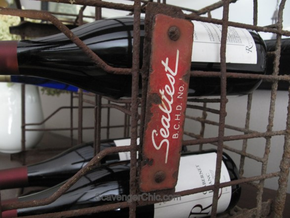 recycled metal milk crate, wine rack